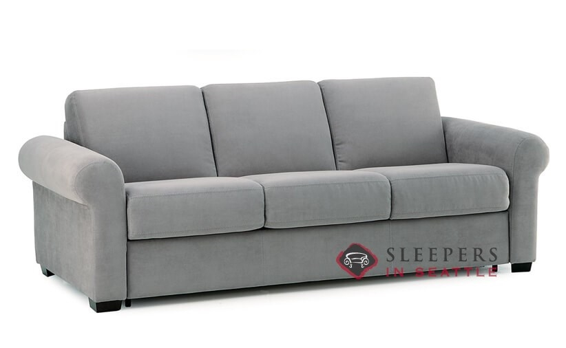 ... Palliser My Comfort Sleepover 3 Cushion Sleeper Sofa (Queen) In  Echosuede Charcoal Sideview ...