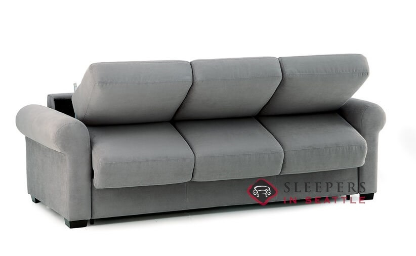Sleepover My Comfort 3 Cushion Queen Sleeper Sofa By Palliser In Echosuede Charcoal Opening