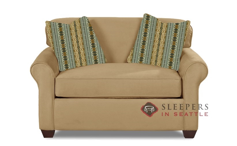 Savvy Calgary Sleeper In Microsuede Camel Chair
