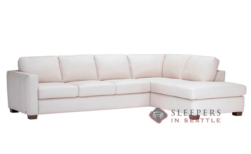 Natuzzi Editions Roya B735 Chaise Sectional Leather Queen Sleeper Sofa