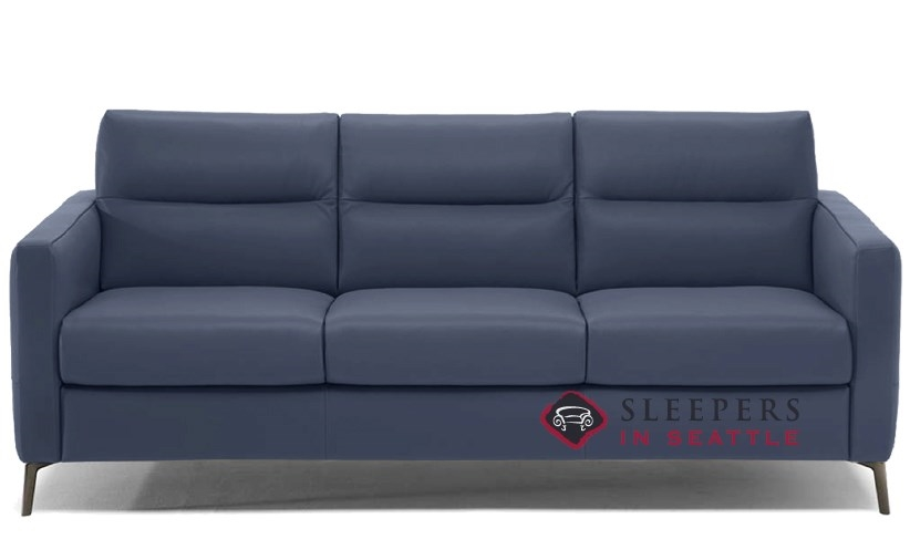 Natuzzi Editions Caffaro Leather Sleeper Sofa In Le Mans Navy Blue Queen C008