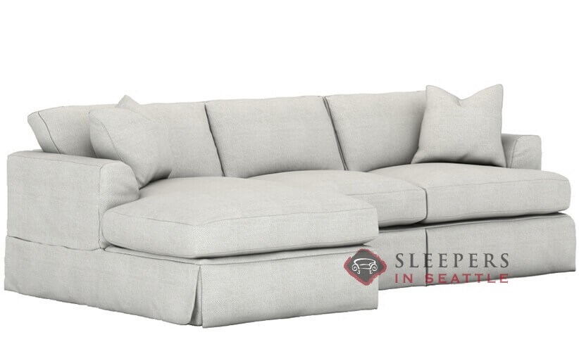 Savvy Berkeley Chaise Sectional Queen Sleeper Sofa with Slipcover with Down  Feather Seating