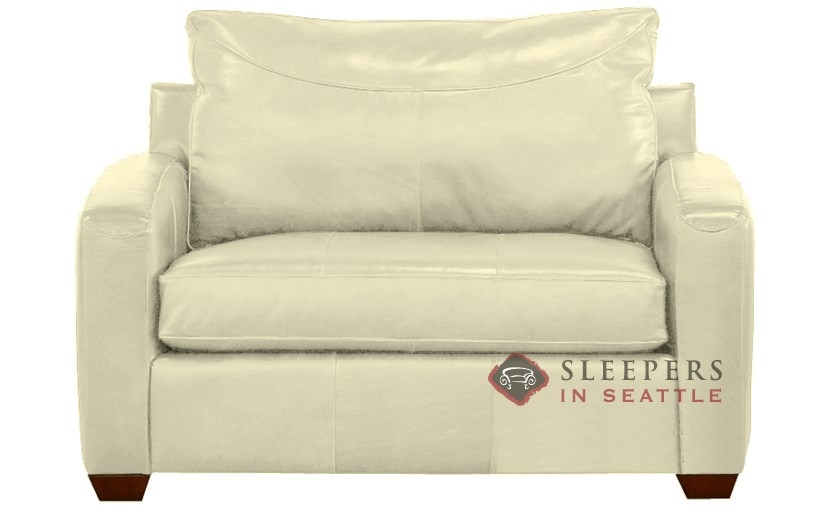 Savvy Boulder Leather Sleeper In Durango Oatmeal Chair