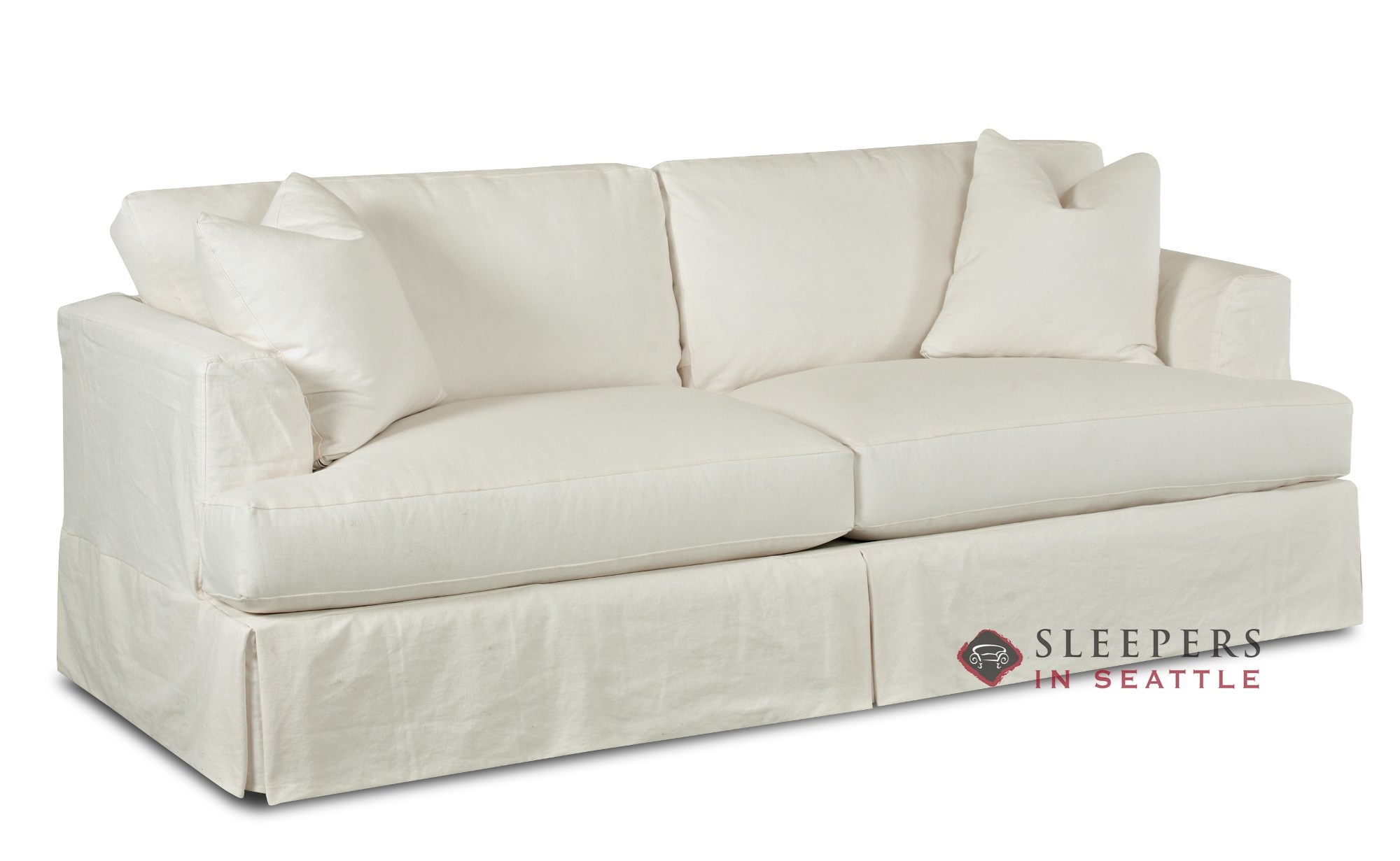 Savvy Berkeley Sleeper Sofa With Slipcover Queen In Clic Bleach Sideview