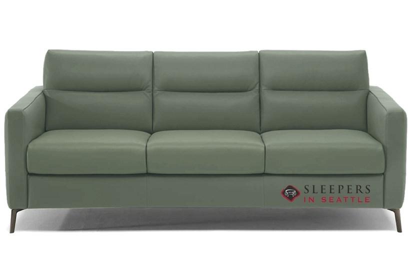 Natuzzi Editions Caffaro C008 Leather Sleeper Sofa in Neptune Sage ...