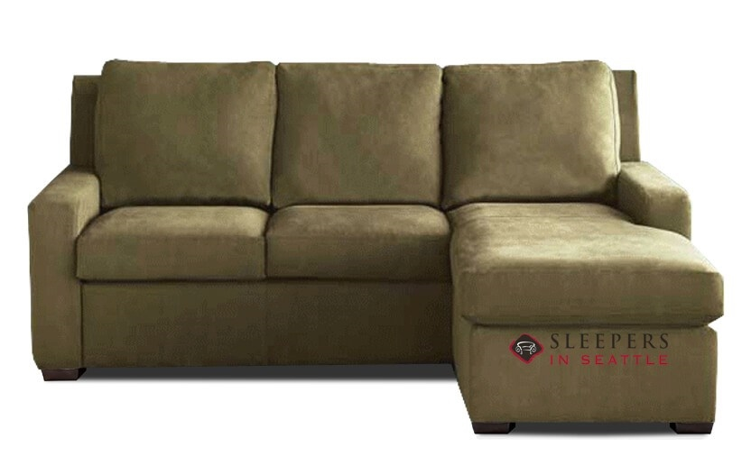 American Leather Lyons Low Leg Leather Queen Plus with Chaise Sectional  Comfort Sleeper (Generation VIII)