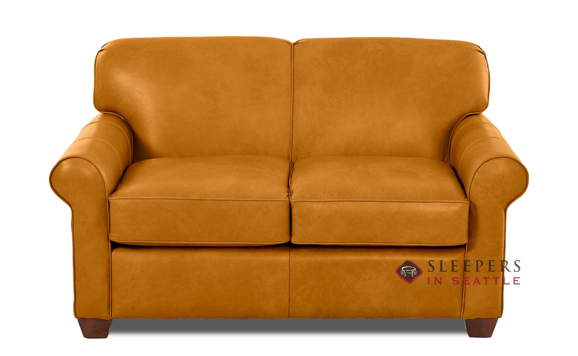 - Savvy Calgary Leather Twin Sleeper Sofa In Bowie Saffron